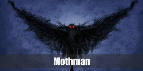 Mothman's costume is a black bodysuit, long black wings, black feathers, long black antennae, and red sunglasses.