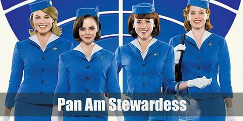 The Pan Am flight stewerdess costume is blue blazers and skirts with their signature hat and white gloves. Complete the costume with a blue bag to match the outfit.