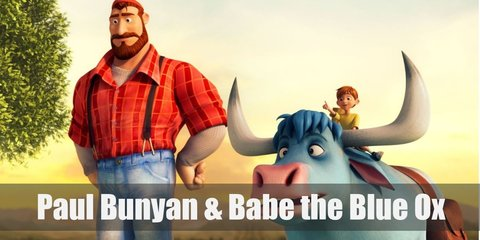 Paul Bunyan's costume includes a plaid lumberjack top and denim pants. Meanwhile Babe the Blue Ox can be recreated by wearing blue clothing an an ox-inspired hat with horns.
