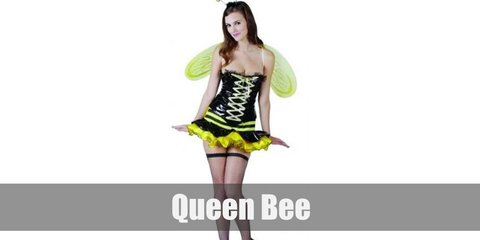 Queen Bee's costume is composed mostly of bumble bee stripes all over as seen in its tank top, gloves, and socks. Get a tulle skirt to match the top and a cute bee wing to finish the costime.