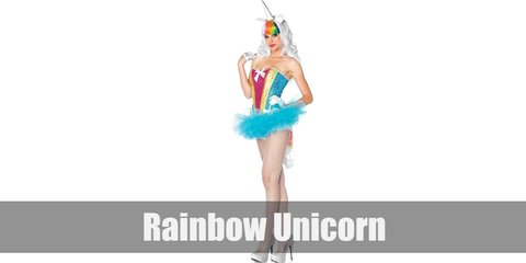 Rainbow unicorns costume is a white shirt, a rainbow tutu, and a unicorn horn headband, and you're good to go!