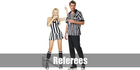 The Referee costume for men includes a striped shirt with black pants and a whistle. Meawhile, the female costume has the same striped shirt and whistle with black shorts.