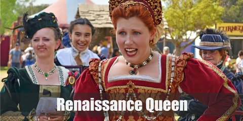 Renaissance queen costume is a opulent Renaissance gown, ornate jewelry, and of course, a crown.