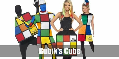 This DIY Rubik's cube costume can be recreted using a big shipping box. Then decorate it with colored paper to recreate the tiles.