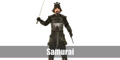 Samurai costume  consists of a chest plate and a tasset belt to serve as armor. Then wear a long sleeved shirt and pants underneath. Complete the look with a sash, arm and shin guard, gloves, and boots. Don't miss the samurai helmet and the katana as props, too!