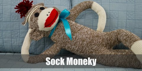 sock monkeys costumes have many variants in their light brown color and red lips. It's easy to look like one. You just need a brown sweater, brown pants, white sneakers, white gloves, and a red scarf.