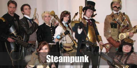 Steampunk costume is a brown corset, a long sleeved shrug, a steampunk skirt, stockings, a mini top hat, finger-less gloves, and leather boots. Men wear a white buttoned down shirt, a brown vest, striped pants, a top hat with goggles, a shoulder armor, a sweat band, a tactical belt, and brown leather boots.