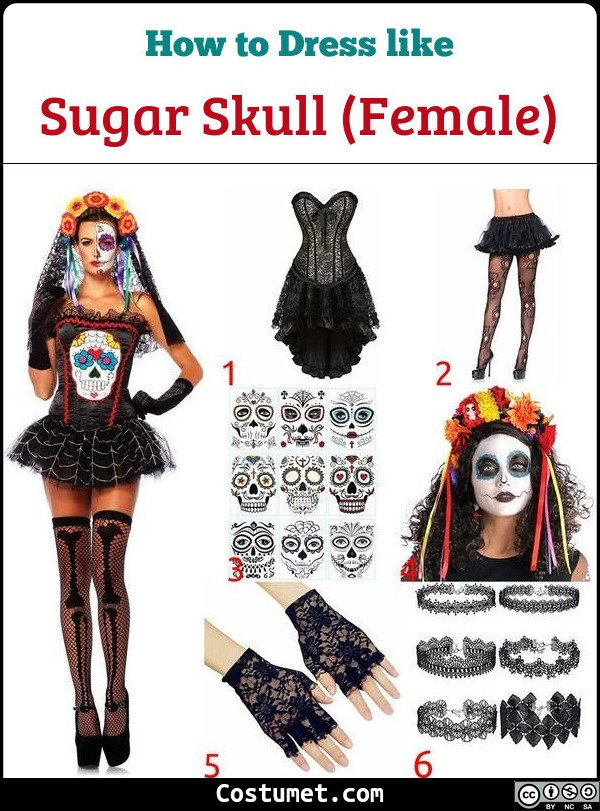 Female Sugar Skulls Costume for Cosplay & Halloween