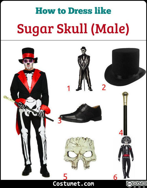 Male Sugar Skulls Costume for Cosplay & Halloween