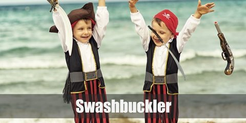 The swashbuckler costume can be recreated with a white ruffled top and pants. He has a vest with a red sash on the waist. Style the costume with a belt, a pair of boots, and a red skullcap. Carry a sword, too.