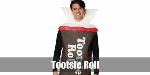 Tootsie Roll costume is a white top or dress as the base. Then get yards of brown cloth that will be able to cover your torso. Wrap the brown cloth then add the words 'TOOTSIE ROLL' across the body.