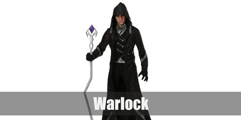 The warlock costume can be recreated with a coat to start it with then top it with a hooded cape. Make sure the coat and pants feature silver or metallic patches or appliques. Then finish with boots, gloves, and a staff.