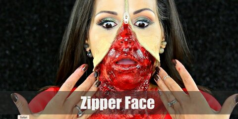 The zipper face makeup gives the illusion that you have an open zipper running across your face, showing your bloody flesh below.