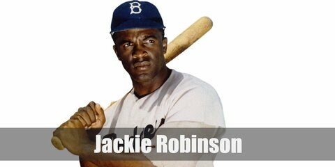 Jackie Robinson's costume consists of a white baseball jersey and pants. He also wore a long sleeved shirt under his jersey. Complete the outfit with a cap and dark shoes.