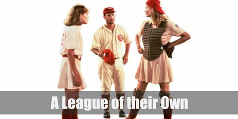 A League of their Own 's Dottie costume is a pink skater dress, red knee-high socks, black shoes and a red team cap