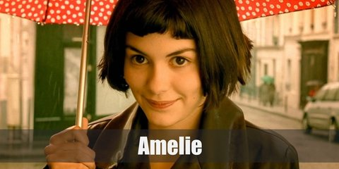 Amelie Poulain's costume is a black polka dot top, a green cardigan, a red skirt, and black Oxfords.