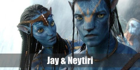 Jake Sully and Neytiri appear in an all-blue skin which can be recreated with a bottle of blue body paint or full body bodysuit. Decorate the blue skin with a darker shade of blue for the tiger stripes. They also have brown loin cloths and around the arms and legs. Wear long wigs accordingly.