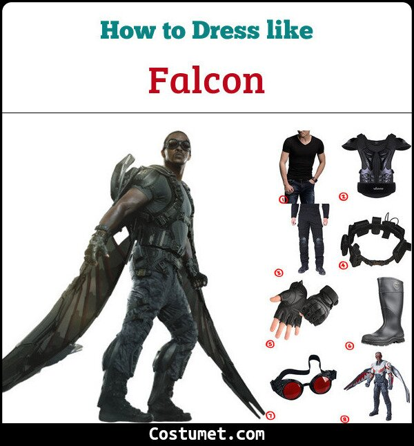 Dress Like Falcon From Avengers Costume For Cosplay