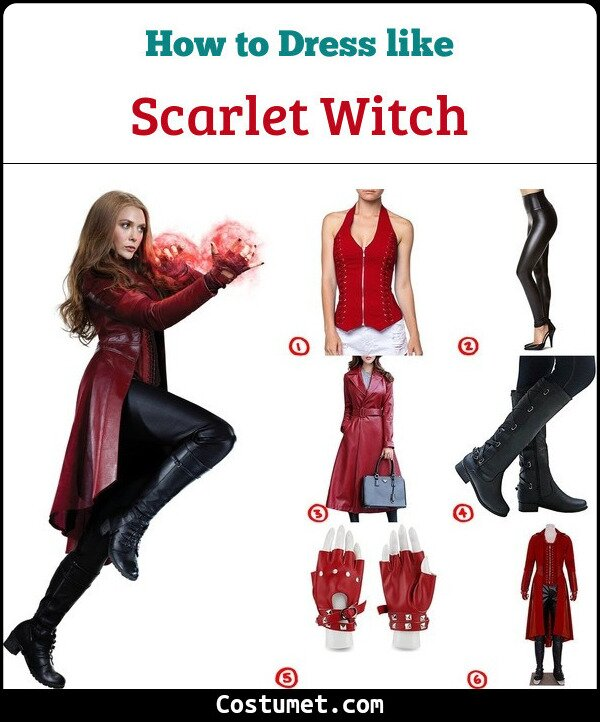 Dress Like The Scarlet Witch Costume For Cosplay Halloween