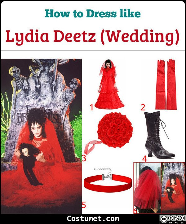 Lydia Deetz Wedding Red Costume for Cosplay & Halloween