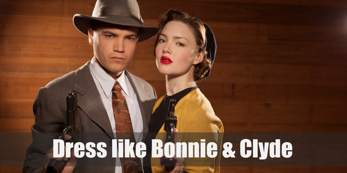 Dress Like Couple Bonnie And Clyde Costume For Cosplay Halloween
