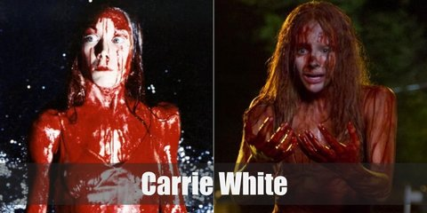 Time to go to prom all bloody. Carrie's costume is a white satin dress, a prom tiara, and tons of splattered fake blood.