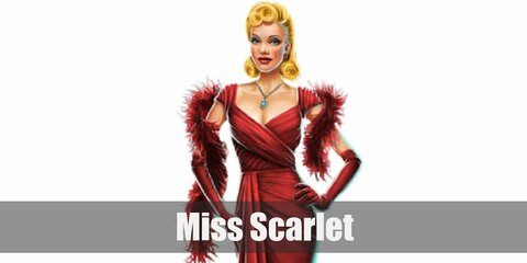 Miss Scarlet's costume is a attractive red dress, red long gloves, a red boa, and her choice of weapon (sometimes a noose or a gun). Miss Scarlet is the seductively manipulative character in Cluedo.