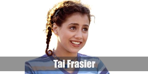 Tai Frasier's costume is a light blue shirt, a green cardigan, a plaid skirt, black tights, and an auburn wig.