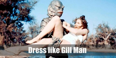 Gill Man walks on two feet and has arms like a human. But he looks very much like reptile with the scales all over his body. He has flippers on his hands and feet, and fins and gills on his head.