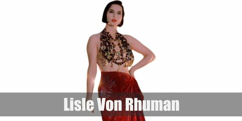 Lisle Von Rhuman / Isabella Rossellini's costume is multiple layers of beaded necklaces, a red velvet sarong, and strappy black stilettos for her part in Death Becomes Her.