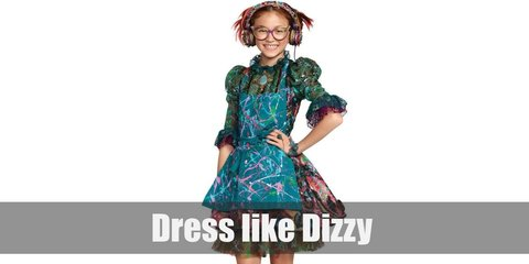 Dizzy costume is a green Victorian styled outfit topped with a teal apron, cat eyeglasses, colorful headset, a giant vintage brooch, a teal lace bracelet and ring, and a pair of laced up heels.
