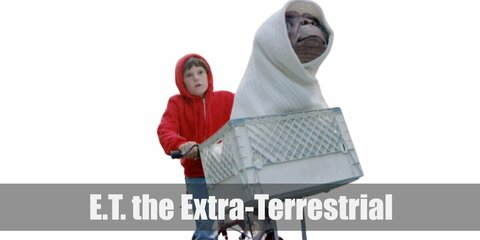 E.T.'s costume is a red hoodie, denim pants, and his bike has a white crate where ET is hidden under a white blanket.