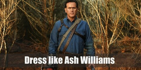 From his rugged denim shirt, his hardy black work boots, to his whirling bloody chainsaw, Ash Williams completely encompasses the part of a zombie killing machine.