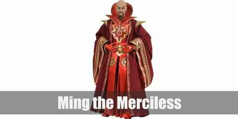 Ming the Merciless' costume is a red tunic, red pants, a red robe with ornate gold details, a Chinese-style beard and mustache, and a few gold rings.