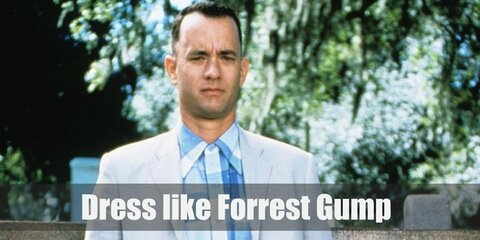 Forrest Gump wears a blue plaid shirt with short sleeves, a light gray suit jacket and pants, a black belt, and white sneakers.