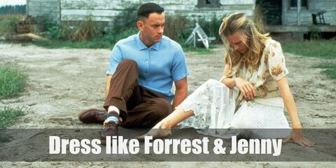 Forrest Gump wears a blue plaid shirt with short sleeves, khaki pants with black belt, and a pair of leather shoes. Jenny Curran wears a cute yellow summer dress and slippers.