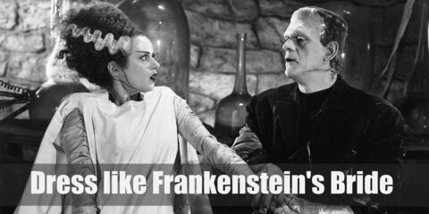 Frankenstein's Bride iconic white gown is meant to have the look of bandages or the white sheet from the operating table, but in fact gives her a glorious appearance.