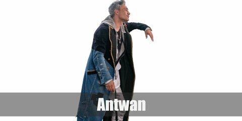 Antwan's costume is a plain black shirt, grey joggers, a grey hoodie, a unique black/denim trench coat, and too many rings.