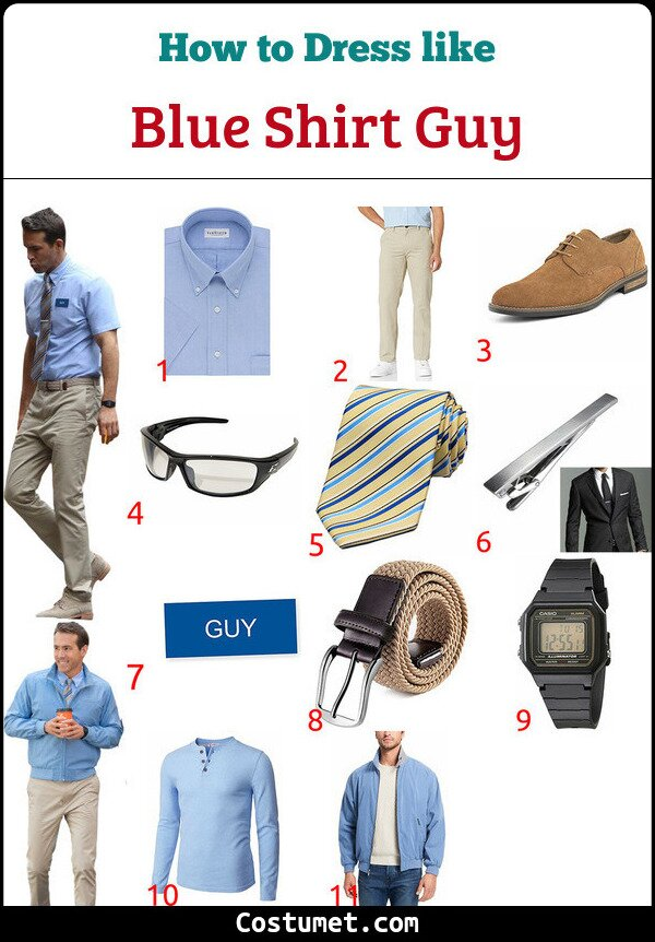 Blue Shirt Guy Costume for Cosplay & Halloween