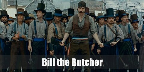 Bill the Butcher's costume features a quarter-sleeve top under a brown vest. He has dark pants and wears a pair of boots. Complete his outfit by wearing a top hat and carrying a toy butcher knife, too!