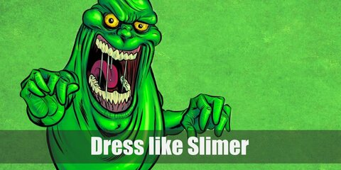 Slimer is made up of 100% Ectoplasm and that's why he's the neon bright green color that he is.