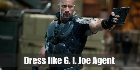 G.I. Joe agents wear a soldier green T-shirt, a black armor, green camouflage pants, black finger-less gloves, a black utility belt, a gun holster for thigh, and a pair of combat boots.