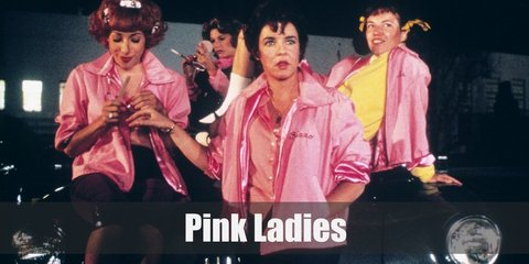 Pink Ladies costume is wearing matching pink jackets and black skinny pants. Accessorize the costume with a pink neckerchief and sun glasses.