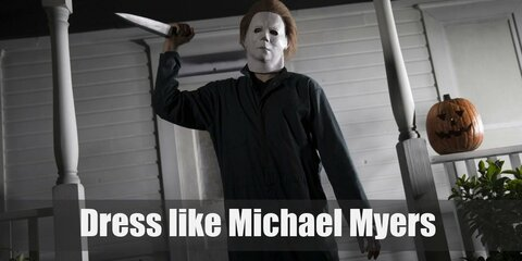 Michael Myers very first murderer costume was scary in his own right. A clown with a knife was inspired! However, that's not his most iconic one. Michael is known for wearing blue coveralls with an intimidating white mask covering his entire face.