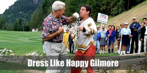 Happy Gilmore wears a rust-colored flannel above his t-shirt, a pair of loose jogging pants, and rubber shoes. Here is everything you need to look like Happy Gilmore.