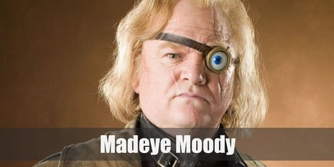 Madeye Moody costume is wearing warm clothes in the form of a black leather vest, long brown coat, dark pants, and a fake magical eye.