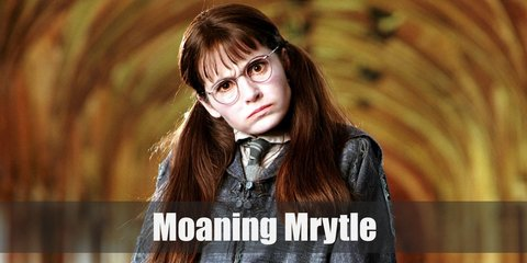 Moaning Myrtle is the miserable teenaged ghost the haunts the girl's bathroom in the second floor of Hogwarts. She died wearing her school robes.