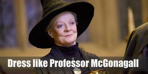 Professor Macgonagall is known for being strict and her ever-present hair bun. She prefers to wear a deep emerald set of robes, a black pointy hat with a feather attached to it.