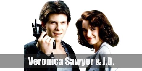 Veronica Sawyer's costume is a blue blazer, a light grey skirt, blue knee-high socks, and black and white Oxfords. Jason Dean's costume is a black shirt, black pants, a black trench coat, and black boots.