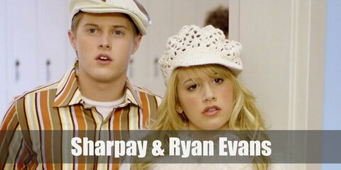 Sharpay's costume is a pink shirt, a hot pink mini skirt, a silver glittery bolero, and a pink bedazzled microphone. Ryan's costume is a long-sleeved button-down shirt, dark pants, and a neon green beret.